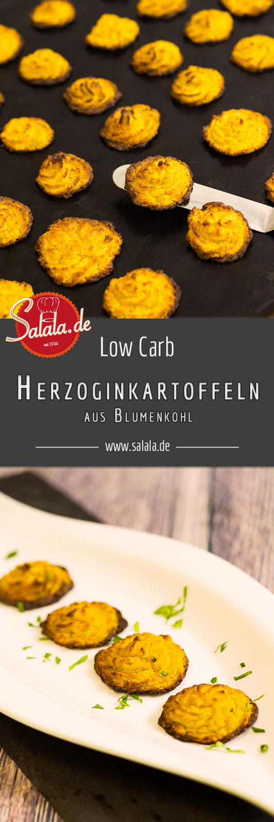Herzoginkartoffeln ohne Kohlenhydrate Low Carb Rezept mit Blumenkohl Low Carb Herzoginkartoffeln - by salala.de - Blumenkohl Kartoffeln Ofengericht glutenfrei ohne Mehl