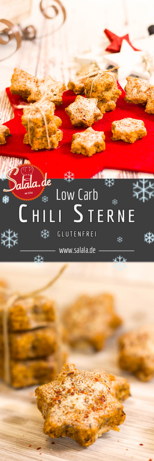 Low Carb Chilisterne - by salala.de - Chilisterne wie Zimtsterne Backen ohne Mehl Backen ohne Zucker mehlfrei zuckerfrei scharf Chili glutenfrei Rezept selbst machen