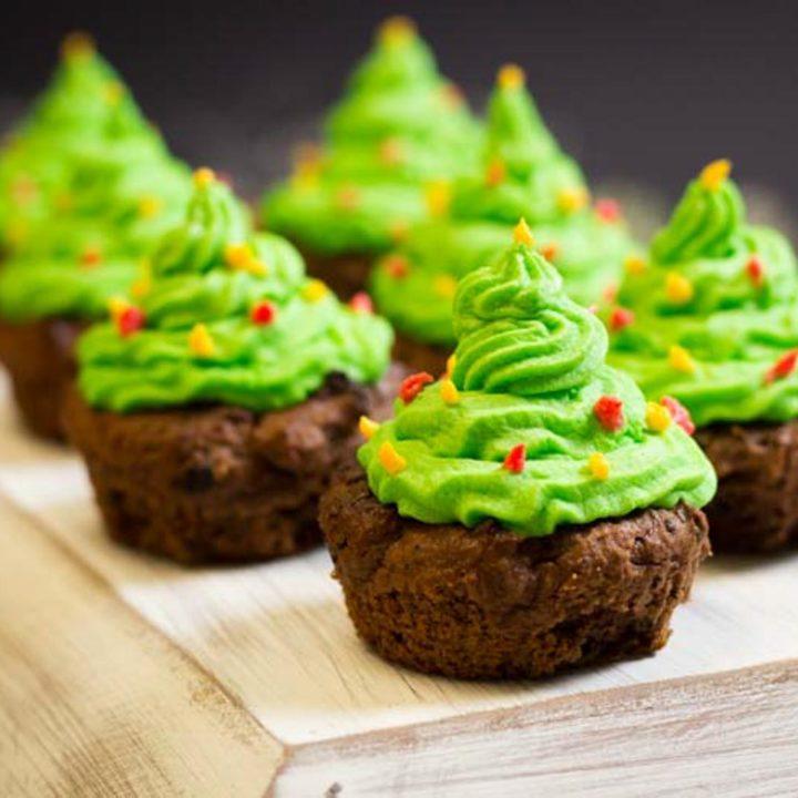 Tannenbaum Cupcakes Rezept Muffins mit Buttercreme Low Carb Weihnachten salala.de Sugarprincess Christmas Cookie Club