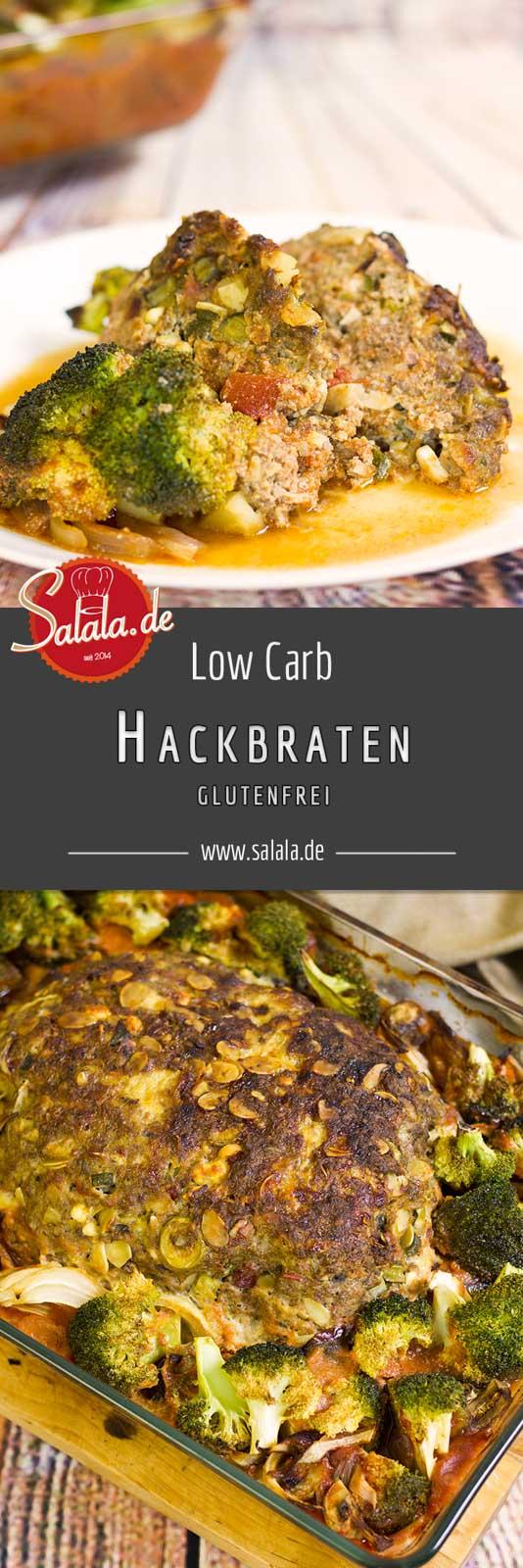 Hackbraten Rezept ohne Kohlenhydrate Low Carb und glutenfrei - by salala.de - Hackbraten ohne Brot mit Oliven Feta Tomaten selber machen