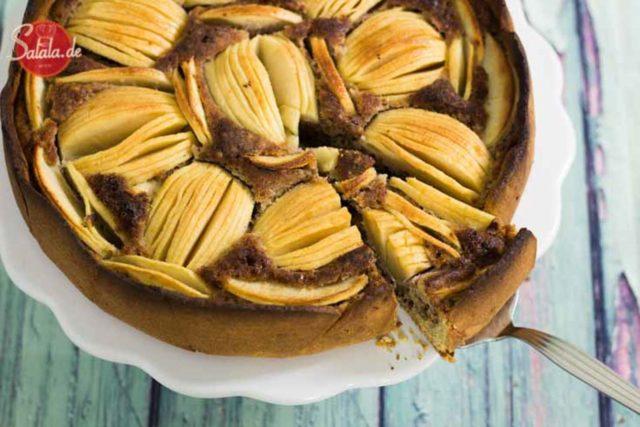 Low Carb Apfel Walnusskuchen - by salala.de - Rezept Low Carb ohne Zucker ohne Mehl glutenfrei Rührteig Mürbteig zuckerfrei