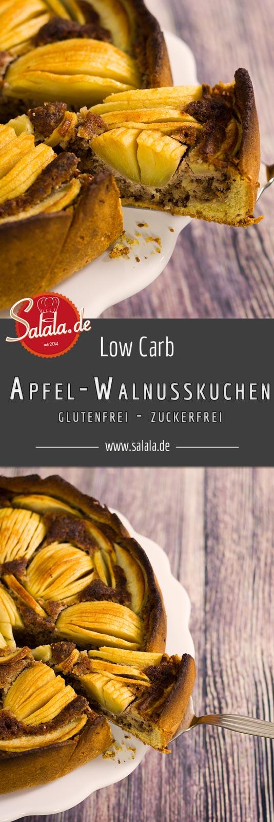 Low Carb Apfel Walnusskuchen - by salala.de - Rezept Low Carb ohne Zucker ohne Mehl glutenfrei Rührteig Mürbteig