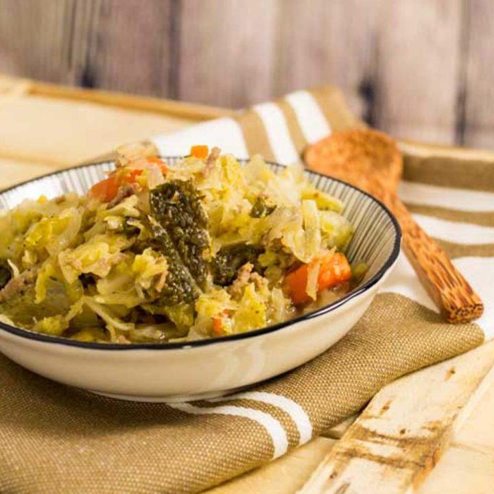 Low Carb Kohltopf zum vorkochen by salala.de Weißkohl Wirsing Speck Hackfleisch vorkochen vorbereiten glutenfrei ohne Kartoffeln Eintopf zuckerfrei Rezept