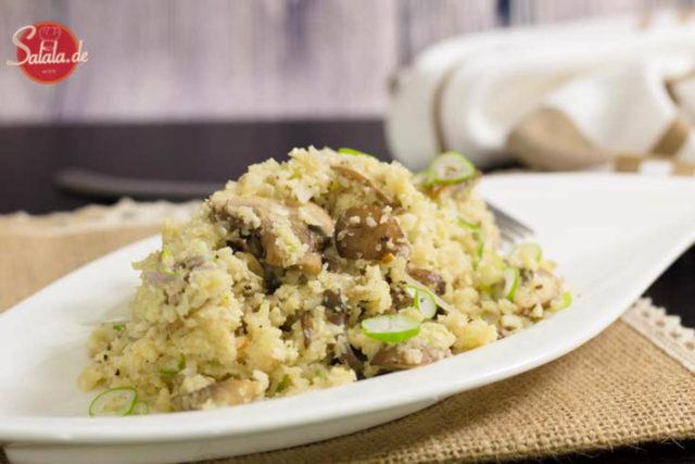 Low Carb Risotto mit Champignons und Blumenkohlreis - by salala.de - vegetarisch ballaststoffreich Risotto Low Carb Reis glutenfrei ohne Mehl
