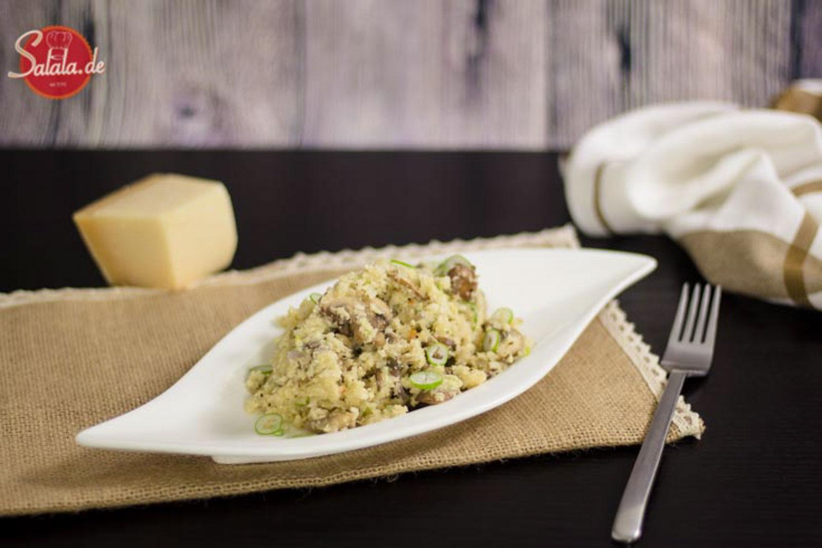 Low Carb Risotto mit Champignons und Blumenkohlreis - by salala.de - vegetarisch ballaststoffreich Risotto Low Carb Reis glutenfrei ohne Mehl Rezept