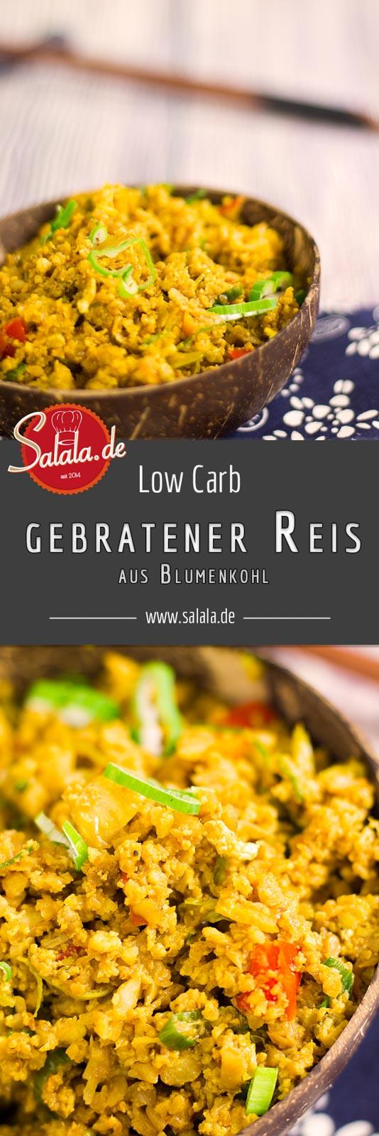 Gebratener BlumenkohlReis - by salala.de - Huhn Gemüse Wok Sojasauce low carb ketogen chinesisch asiatisch Rezept Low Carb kochen mit salala.de