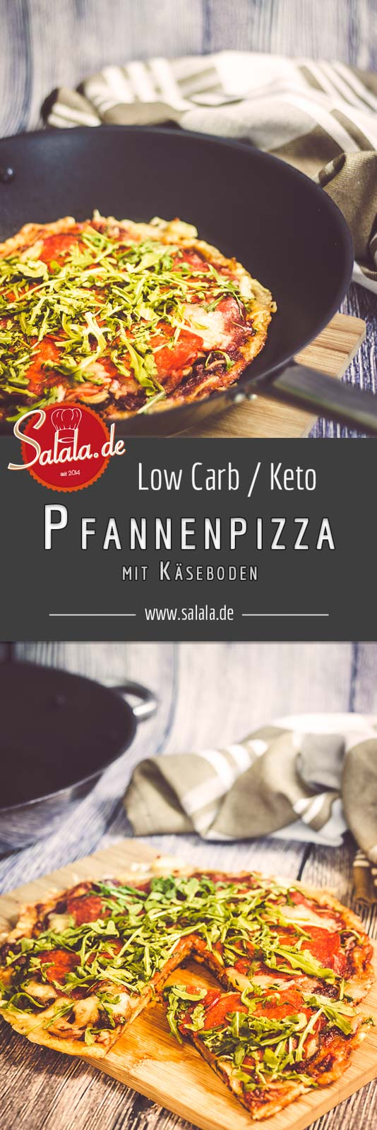 Knusprige Keto Pfannenpizza mit Käseboden die musst Du nachmachen Low Carb Rezept ohne Mehl - by salala.de