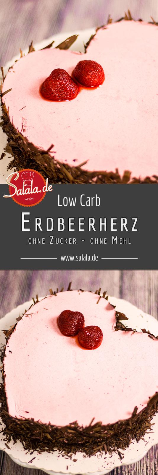Sahniges Erdbeerherz zum Valentinstag - by salala.de - Low Carb Torte ohne Zucker ohne Mehl glutenfrei Sahne Erdbeeren Motivtorte Rezept