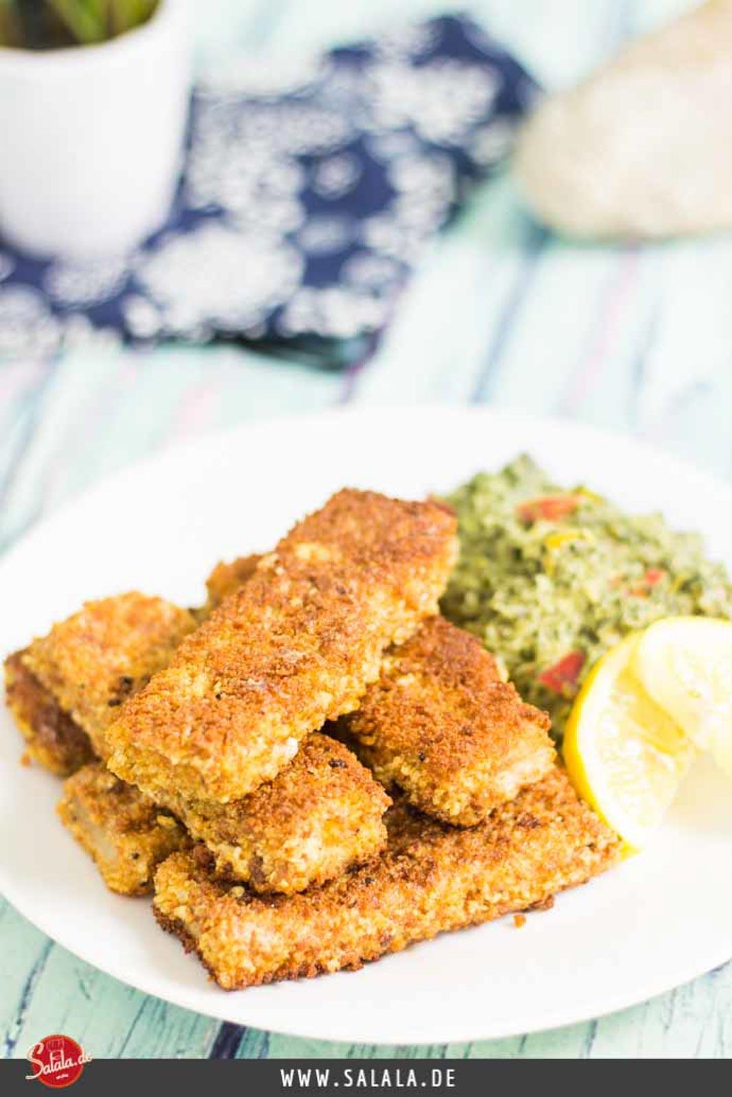Fischstäbchen Low Carb Ketogen glutenfrei mit selbstgemachter Panade
