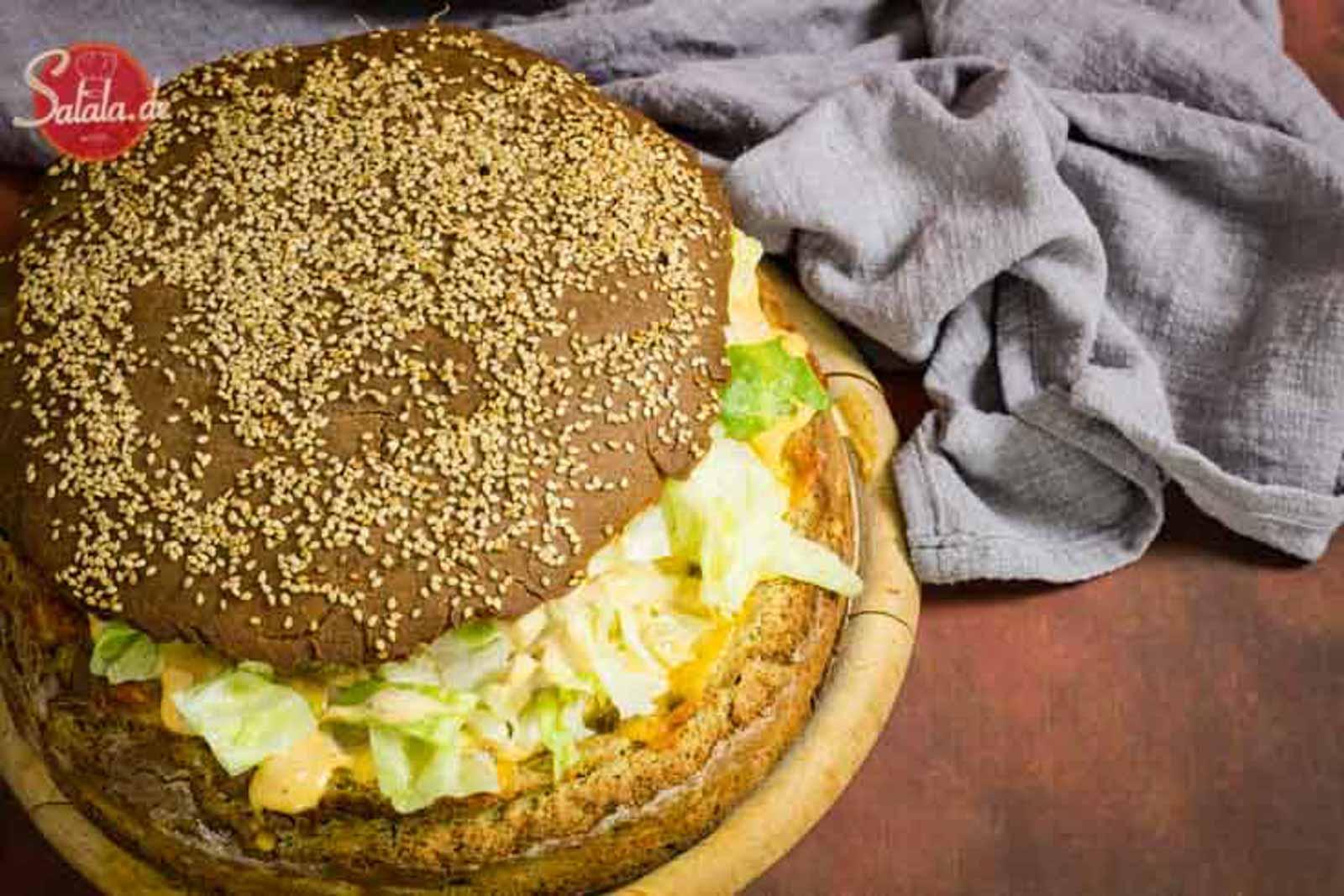 Mega-XXL Big Mac Rezept Low Carb und glutenfrei aber mit Bacon