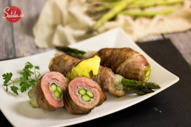 Spargel Involtini - by salala.de - Grüner Spargel Rouladen mit Kalbfleisch und Salbei Rezept Low Carb italienisch perfekt für die Spargelsaison