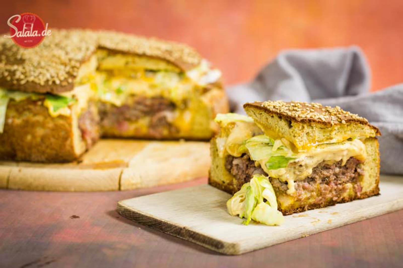 XXL Big Mac Burger Rezept Low Carb und glutenfrei aber mit Bacon