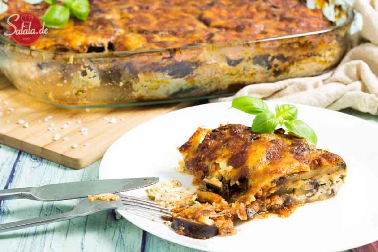 Auberginenlasagne selber machen - by salala.de - vegetarisches Low Carb Rezept ohne Nudeln mit Bechamel glutenfrei