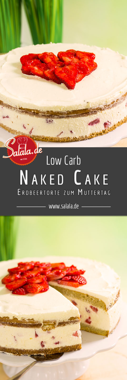 Naked Cake Low Carb Erdbeertorte - glutenfrei Wir haben zum diesjährigen Muttertag wieder was mit Erdbeeren gemacht. Saftige, sahnige Erdbeertorte ohne Zucker und ohne Mehl aber mit super fluffigem Bisquit!