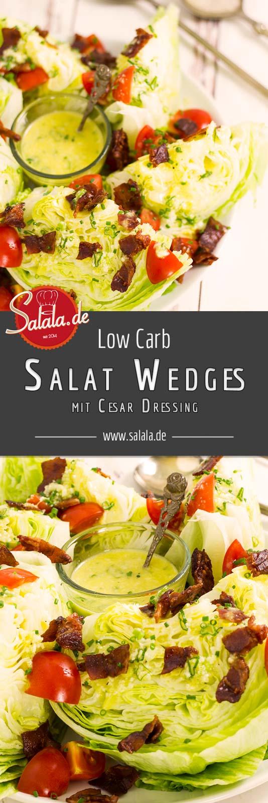 Salat Wedges - by salala.de - mit Cesar Dressing Rezept Low Carb ohne Zucker