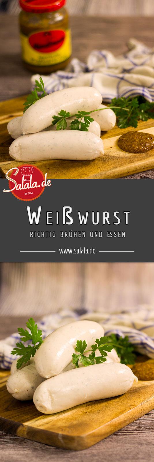 Weißwurst richtig brühen und essen zuzzeln aufschneiden abschneiden und essen - by salala.de