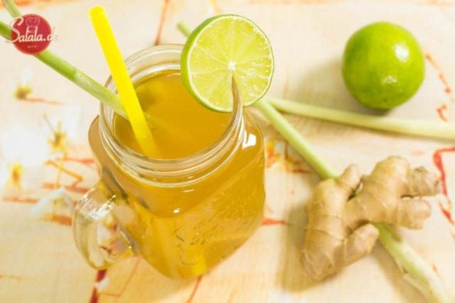 Zitronengras Eistee ohne Zucker selber machen Low Carb Rezept