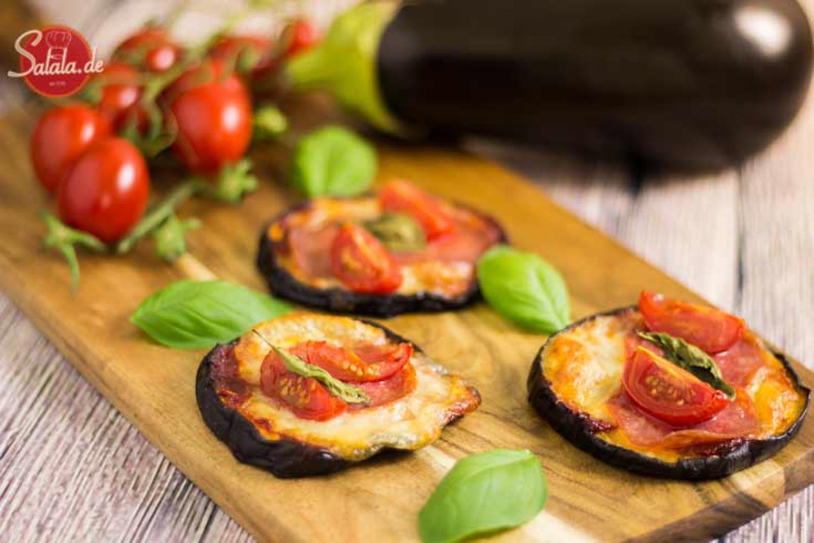 Minipizza mit Auberginen – Low Carb Rezept