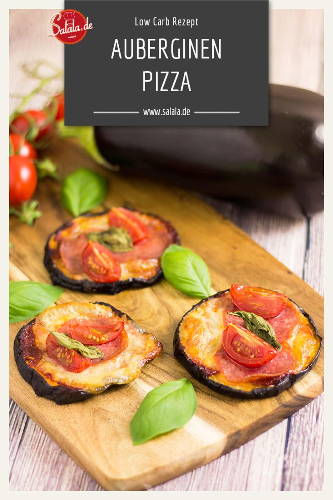 Auberginen Pizza Low Carb Pizza - by salala.de - Rezept mit Salami ohne Kohlenhydrate schnell gemacht #pizza #noflour #sugarfree #zuckerfrei #keto