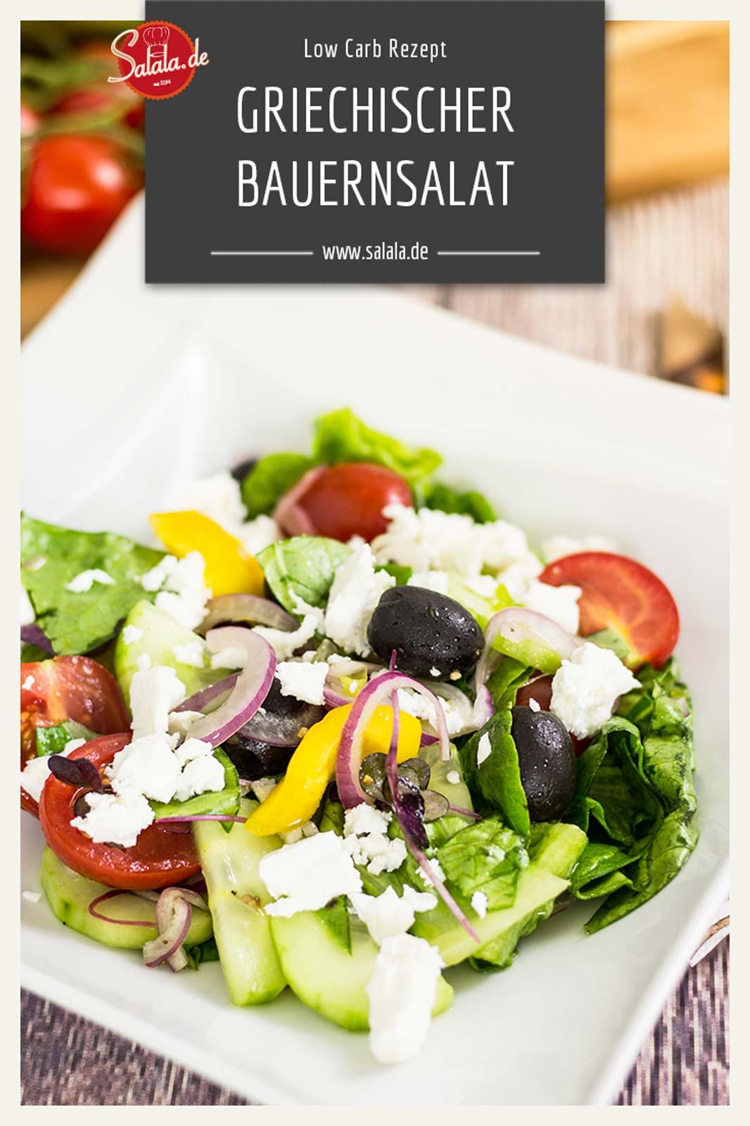 Griechischer Bauernsalat selber machen Rezept ohne Kohlenhydrate Low Carb mit Feta #lowcarb #zuckerfrei #salat