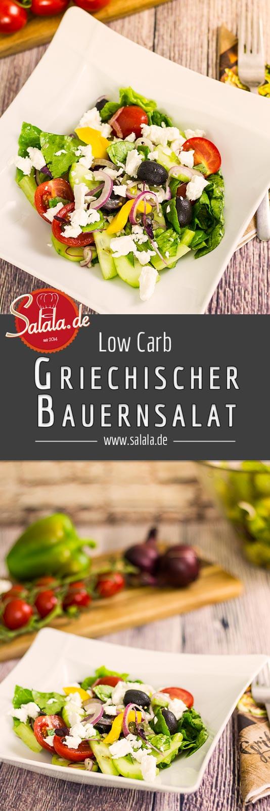 Griechischer Bauernsalat selber machen Rezept ohne Kohlenhydrate Low Carb mit Oliven #lowcarb #zuckerfrei #salat