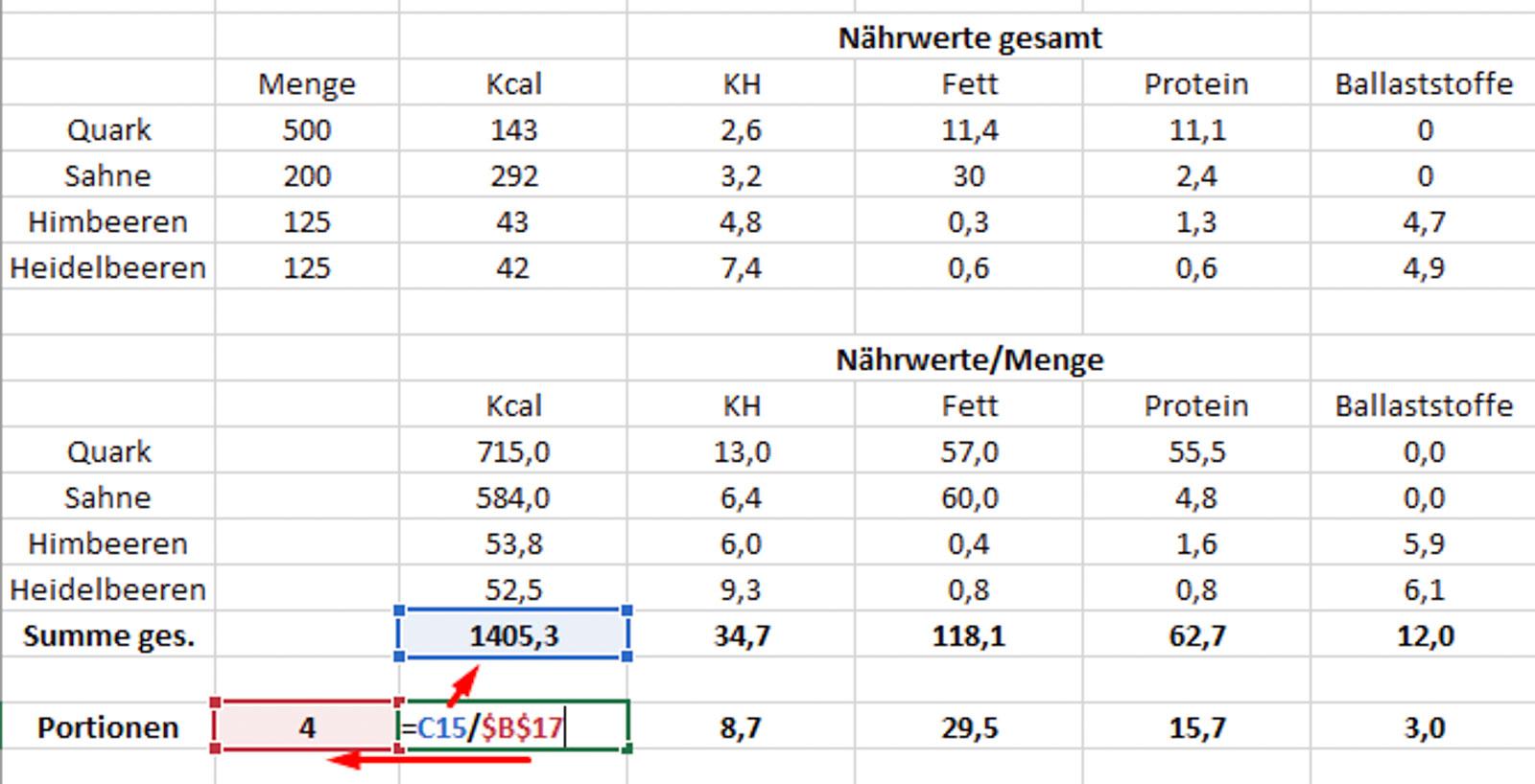 Nährwertberechnung - Mengen