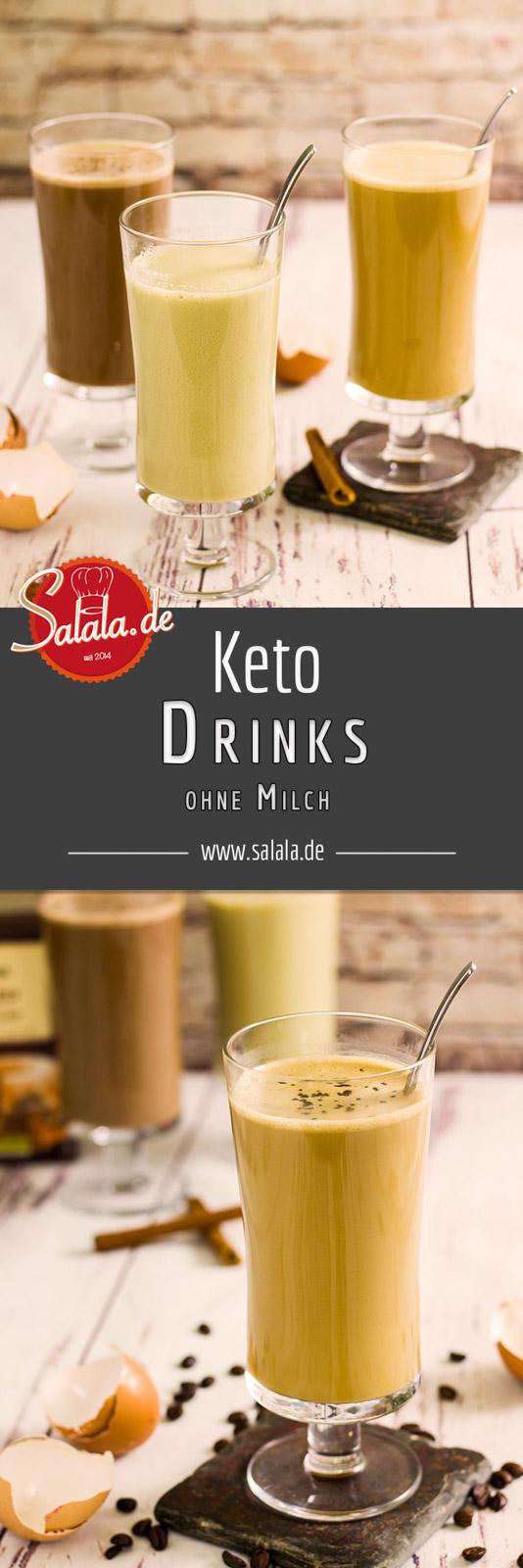 3 schnelle milchfreie Keto Drinks - by salala.de -mit Matcha, Kakaofasern oder Kaffee Rezept zum Frühstück #frühstück #lowcarbfrühstück #lowcarb #lowcarbrezepte #keto #ketorecipes #drinks #lowcarbgetränk #ohnezucker #sugarfree #milkfree #milchfrei