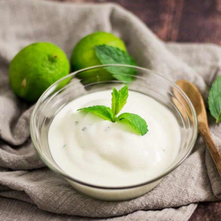Frozen Yogurt mit Limette und Minze by salala.de zuckerfrei Low Carb Rezept mit Eismaschine Ibywind YF700
