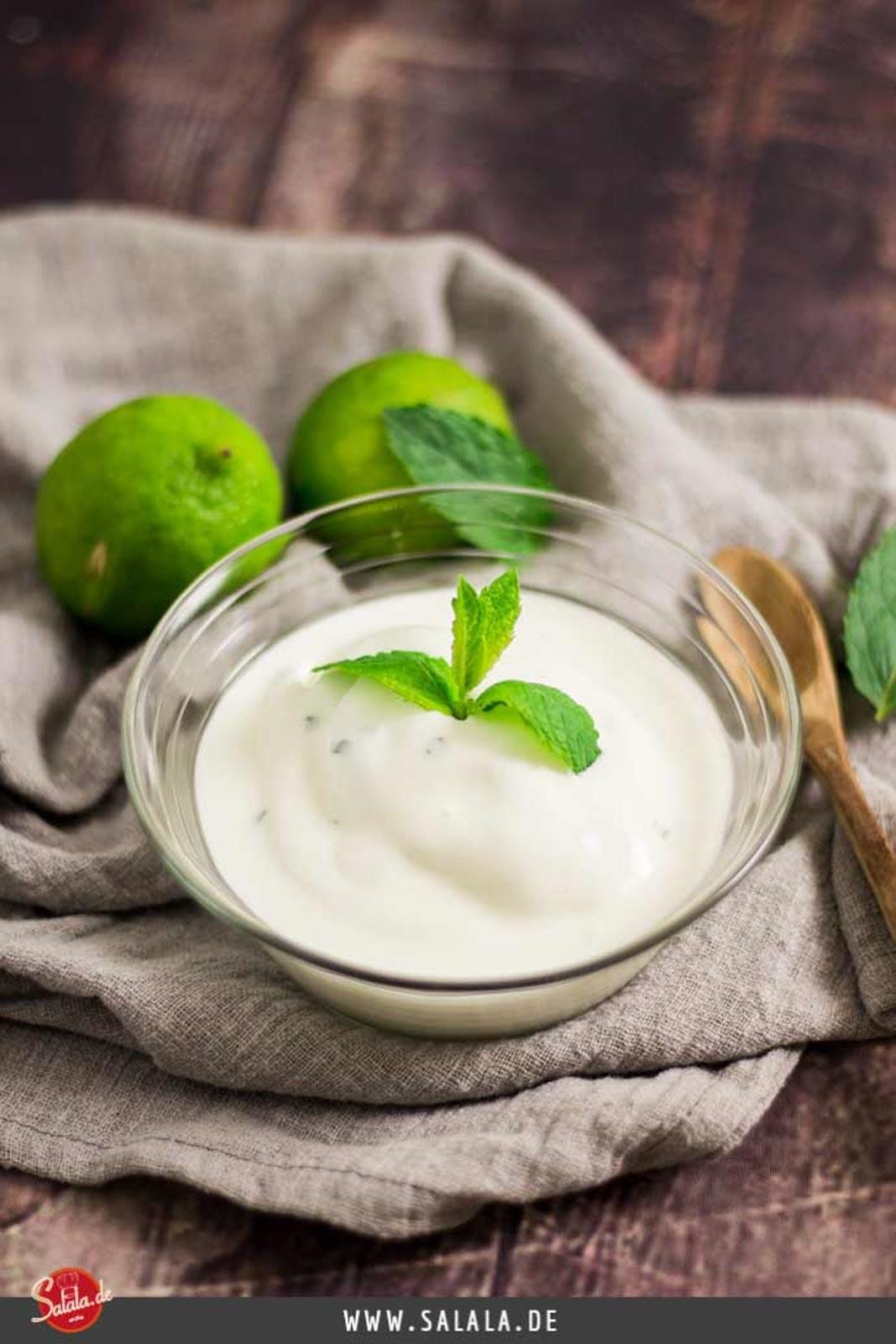 Frozen Yogurt mit Limette und Minze - by salala.de - zuckerfrei Low Carb Rezept mit Eismaschine Ibywind YF700