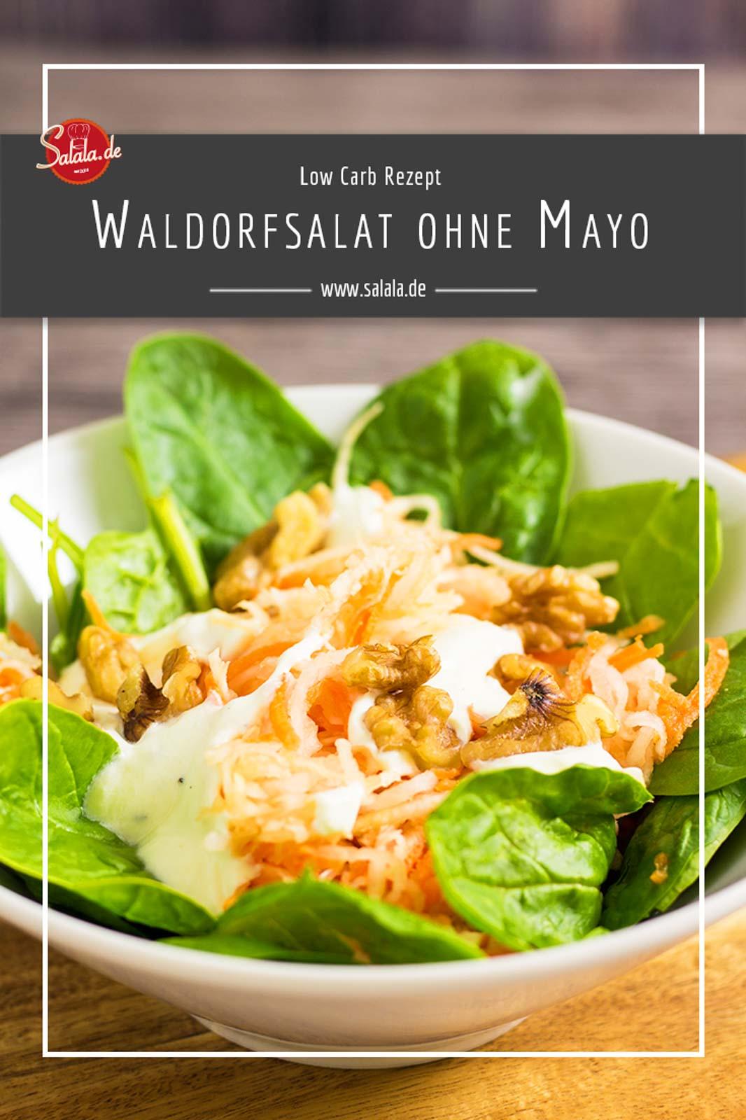 Waldorfsalat Rezept - by salala.de - Low Carb selber machen mit Joghurt #lowcarb #lowcarbsalat #lowcarbrezepte #salat #waldorfsalat