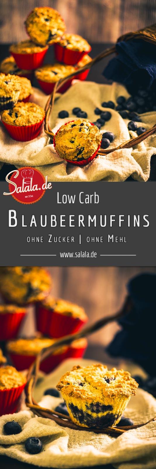 Blaubeermuffins - by salala.de - Low Carb Rezept ohne Mehl und ohne Zucker #lowcarb #lowcarbrezepte #glutenfrei #muffins #heidelbeeren #zuckerfrei