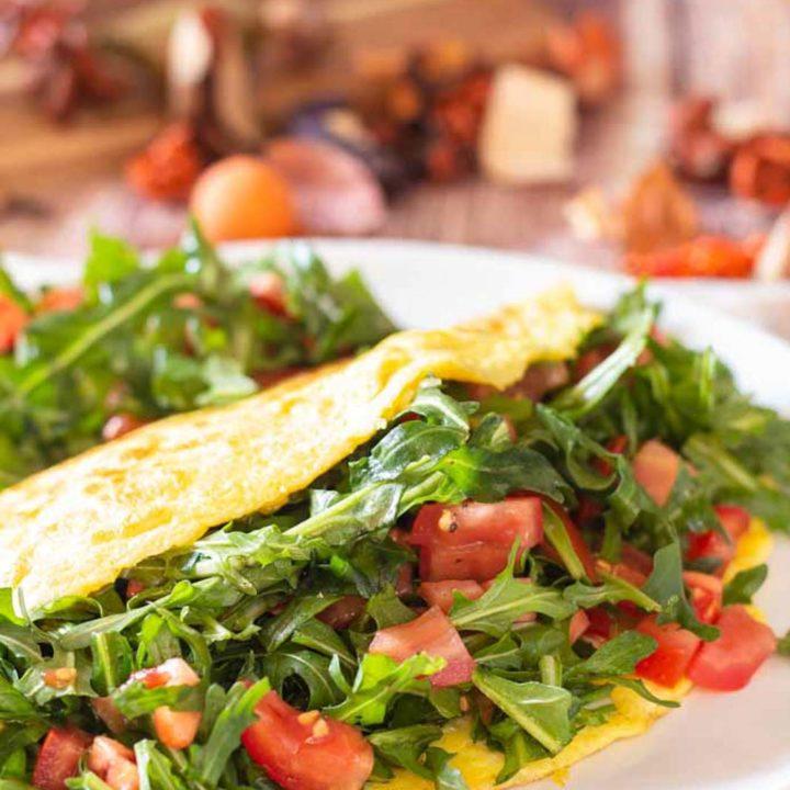 Käse Omelette mit Rucola und Tomate by salala.de Rezept ohne Mehl Low Carb