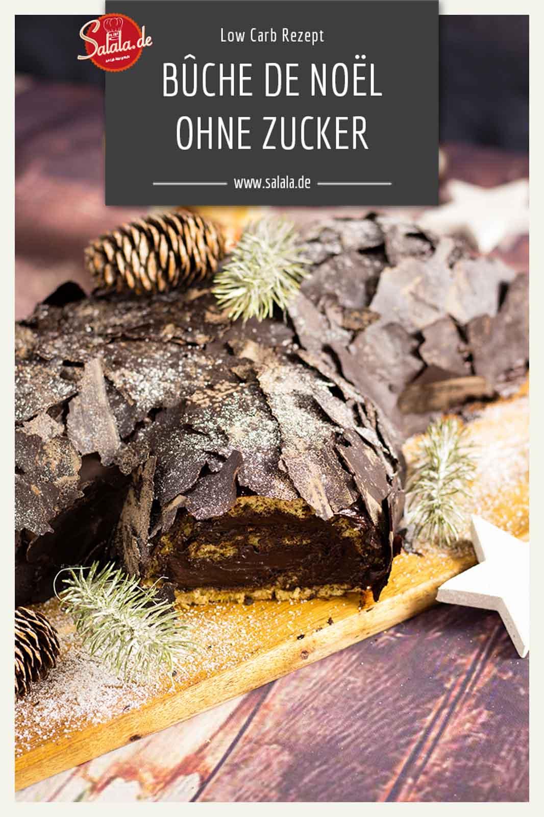 Bûche de Noël Rezept ohne Mehl und Zucker - by salala.de - Weihnachtskuchen Low Carb als Dessert Baumstamm