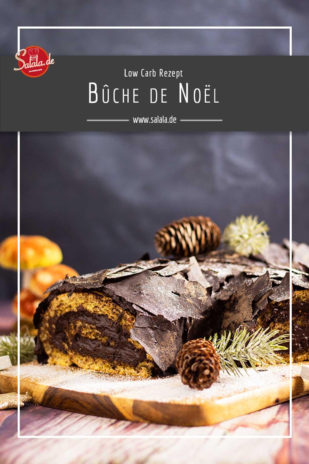 Bûche de Noël Rezept ohne Mehl und Zucker - by salala.de - Weihnachtskuchen Low Carb als Dessert als Modetorte