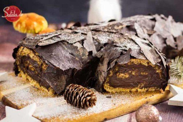 Bûche de Noël Rezept ohne Mehl und Zucker - by salala.de - Weihnachtskuchen Low Carb als Dessert glutenfrei