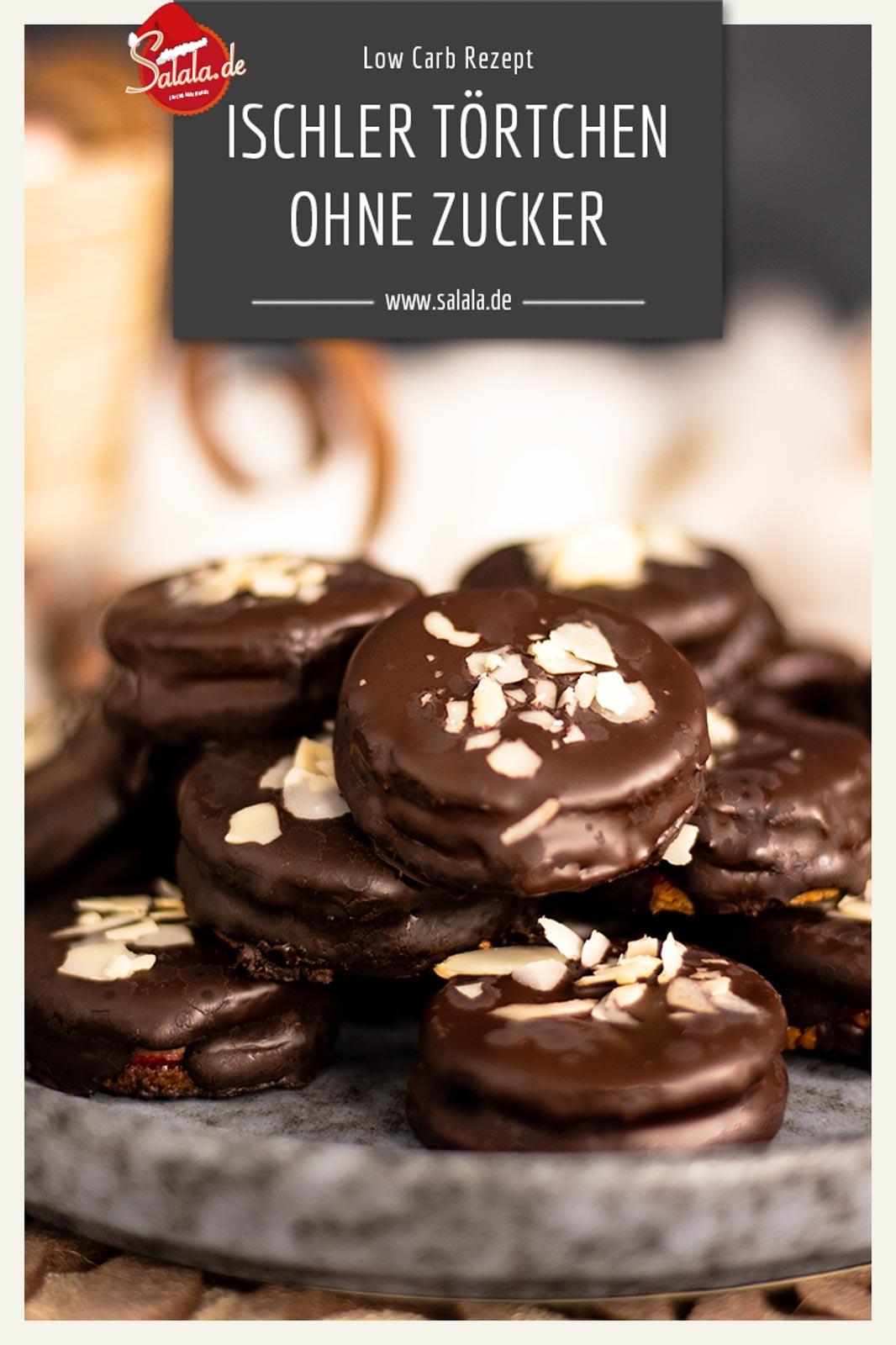 Ischler Törtchen mit Schokoladen-Buttercreme - by salala.de - ohne Zucker und ohne Mehl I Low Carb Plätzchen Rezept mit Marmelade