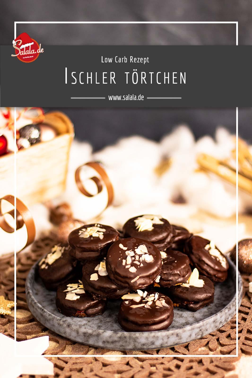 Ischler Törtchen mit Schokoladen-Buttercreme - by salala.de - ohne Zucker und ohne Mehl I Low Carb Plätzchen Rezept zu Weihnachten