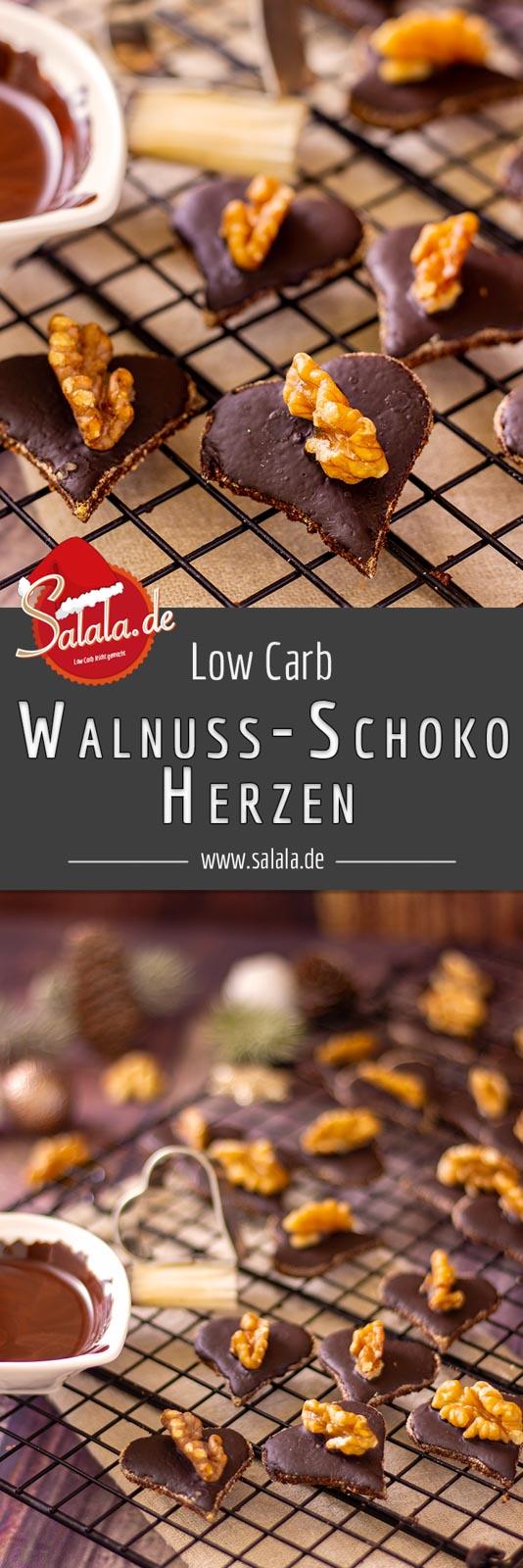 Walnuss-Schokoladen-Herzen - by salala.de - Weihnachtsplätzchen ohne Mehl und Zucker I Low Carb Rezept mit ganzen Walnüssen #plätzchen #walnussplätzchen #kokosmehl #lowcarbrezepte #lowcarbbacken #backen #weihnachtsplätzchen #glutenfrei #ohnezucker #backenohnezucker