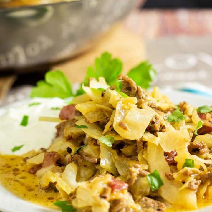 Hackfleischpfanne mit Weißkraut by salala.de schnell und einfach selber kochen I Low Carb Rezept mit Speck