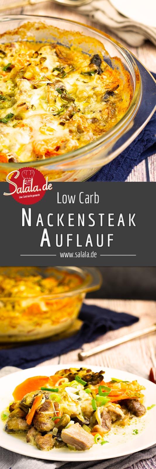 Nackensteakauflauf - by salala.de - Low Carb Auflauf Rezept mit Champignons
