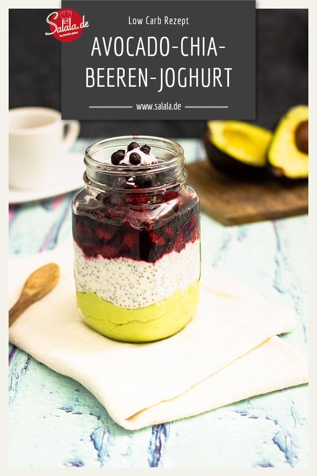 Avocado-Chia-Beeren-Joghurt zum Frühstück I by salala.de I Low Carb Rezept als Frühstück oder Nachspeise