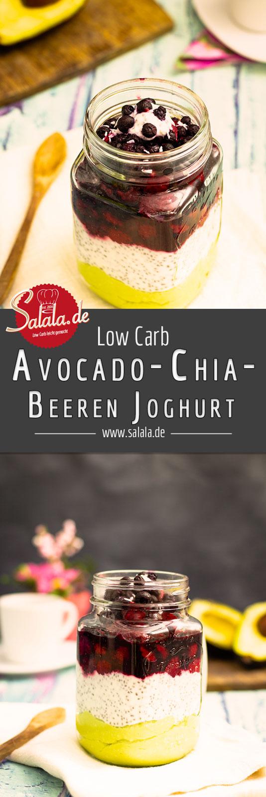 Avocado-Chia-Beeren-Joghurt zum Frühstück I by salala.de I Low Carb Rezept mit Kokos