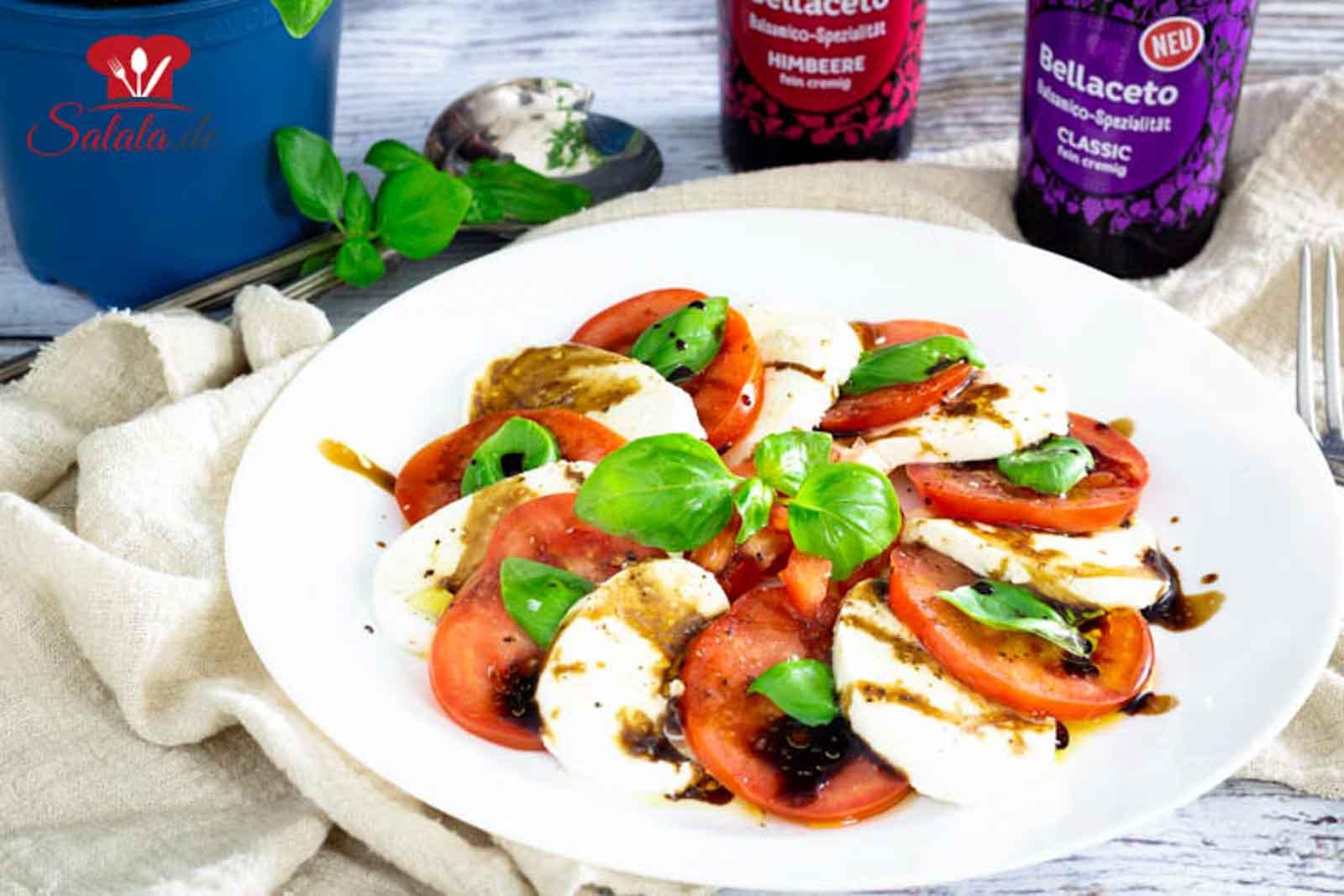 Caprese oder Tomate Mozzarella I by salala.de I mit Kühne Bellaceto Balsamico Spezialität Low Carb Rezept (1)