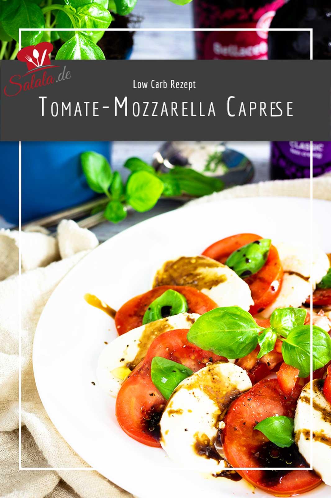 Tomate Mozzarella Salat als Vorspeise oder Beilage zum Low Carb Hauptgericht. Im Original heißt das ja Insalata Caprese, wird dann aber ohne die Balsamico Creme gemacht. #lowCarbSalat #LowCarbVorspeise #InsalataCaprese #TomateMozzarellaSalat