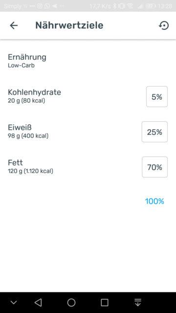 Yazio Screenshot Nährwertziele Low Carb Ernährung angepasst
