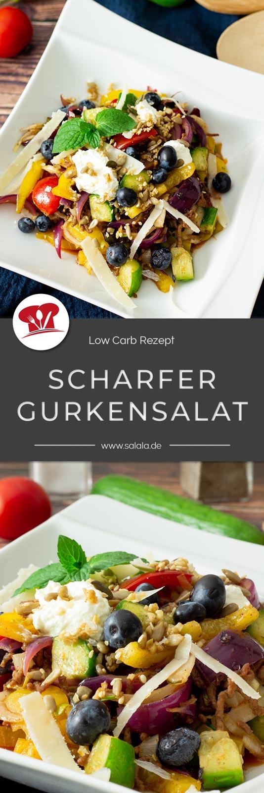 Warm, scharf und trotzdem Salat? Jap das geht. Mit Gurke, Hackfleisch, Chili und Chicoree. Perfekt jetzt für den Herbst. Das Rezept eignet sich aber auch gut als Partysalat. Scharfer Gurkensalat für deine nächste Party, oder sogar zu Halloween? #lowcarb #lowcarbsalat #gurkensalat #warmersalat #scharfersalat #scharfergurkensalat #salatmithackfleiscch