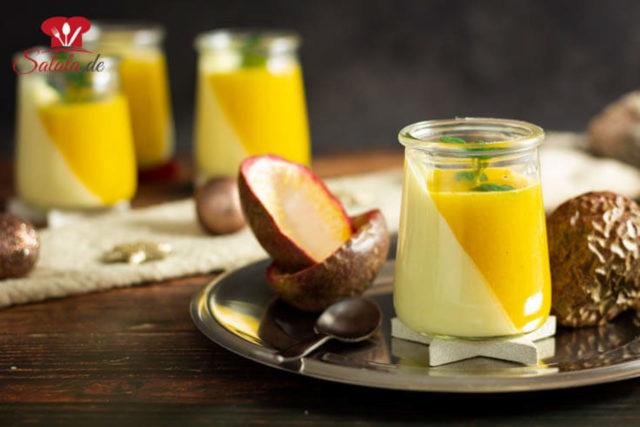 Mango-Maracuja Panna Cotta ohne Zucker