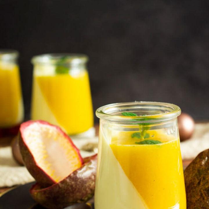 Panna Cotta mit Mango Maracuja Sauce I by salala.de I Nachspeise zuckerfrei mit Fruchtmus selber machen Low Carb Rezept 2