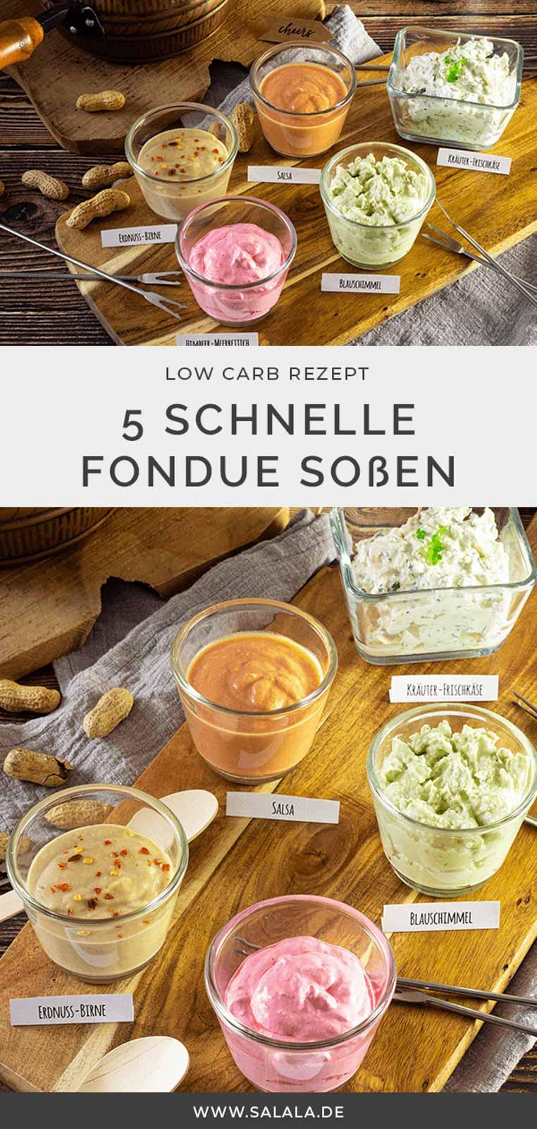 Fondue ist ein typisches Silvester Essen. Und für Fondues braucht man Soßen. Mindestens 5 und deswegen haben wir hier auf 5 einfache und schnell gemachte Fondue Soßen. Ganz einfach ohne Zucker. Ganz einfache Low Carb Rezepte damit du deine Fondue Soßen schnell selber machen kannst. #fonduesaucen #dipszumgrillen #grillsossen #erdnusssosse #lowcarbsalsa #kraeuterfrischkaese #lowcarbdips