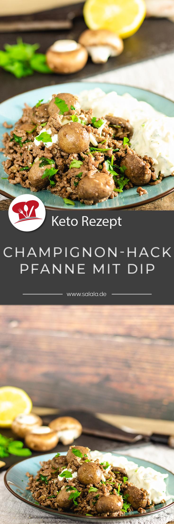 Schnelle Rezepte sind immer super, egal ob High oder Low Carb. Wie wär's denn heute mit einer Champignon-Hack-Pfanne? Dazu gibt's einen Dip aus Quark, Saurer Sahne, Kohlrabi und Knoblauch. Klingt gut? Dann schau dir das Rezept an und schlemm los. Ist nämlich total Keto und damit auch Low Carb. #ChampignonPfanne #RezepteMitHackfleisch #KetoRezepte #LowCarbRezepte #SchnelleRezepte #ChampignonHackfleisch #ChampignonHackPfanne